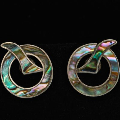 1940's Sterling Silver & Abalone Earrings - Signed