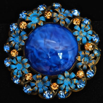 Blue Glass & Pot Metal Pin With Rhinestones