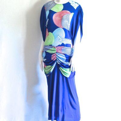 a9b6d2f0f864 Viscose Midi Dress With Colourful Circles   Flowers – France