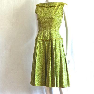 31b9330cc9f5 1950 s Apple Green Brocade Dress With Velvet Ribbon Trim