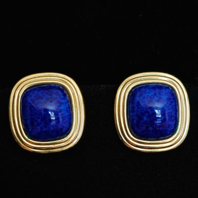 Christian Dior Faux Blue Lapis Ear Clips - Signed