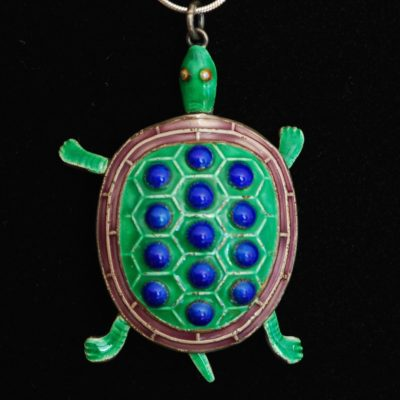 Guilloche green and blue turtle pendant with moveable parts, on sterling silver