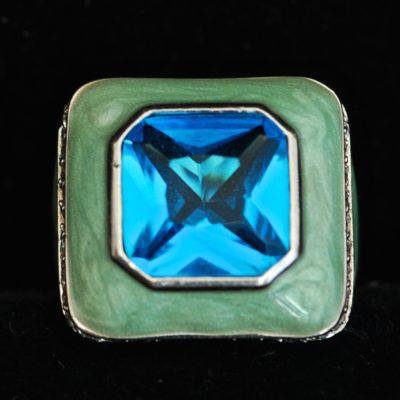 Zirconite, Enamel & Sterling Silver Ring