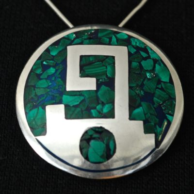 Taxco Inlaid Malachite & Blue Lapis Pendant - Signed