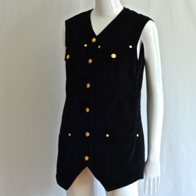 Versace Jeans Couture Black Sleeveless Jacket - Italy