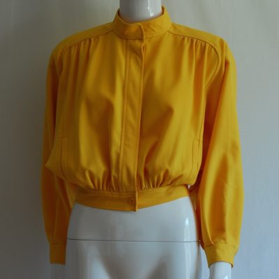Ungaro Solo Donna Bright Yellow Wool Bomber Jacket - Italy