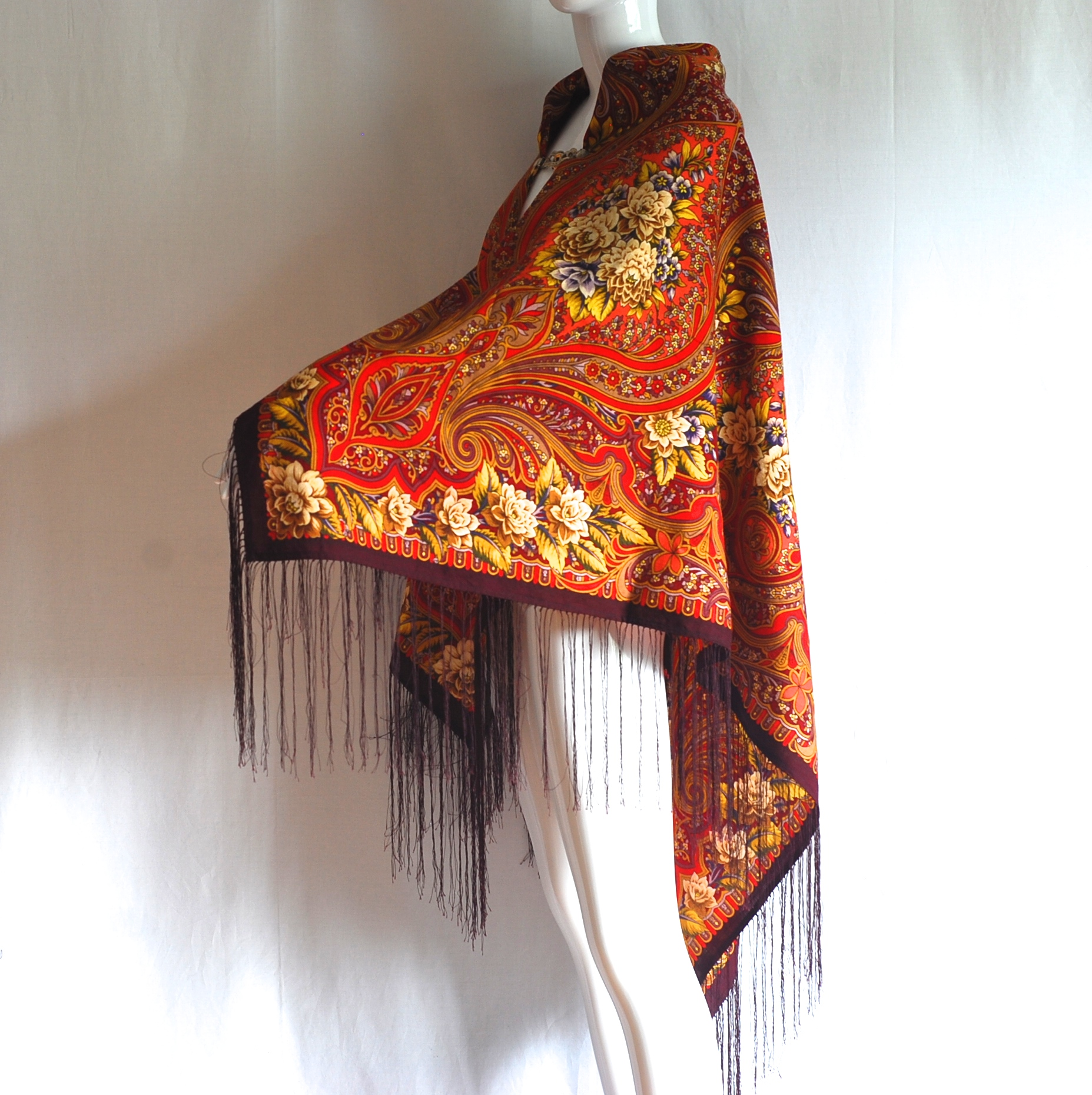 Stunning Fringed Wool Piano Shawl In Rich & Vibrant
