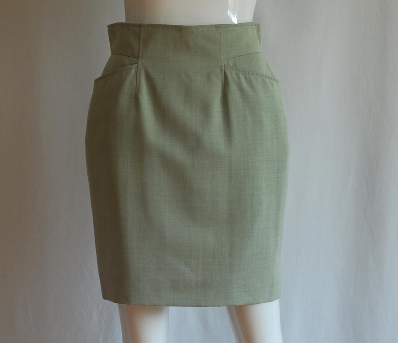 kenzo khaki green wool pencil skirt west