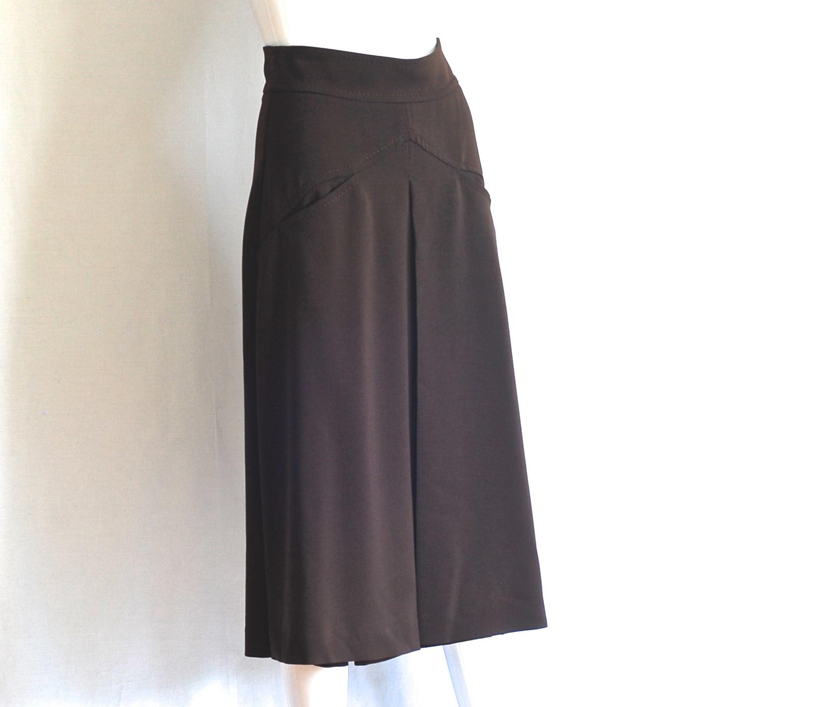 samsonite wide pleat brown midi skirt italy west