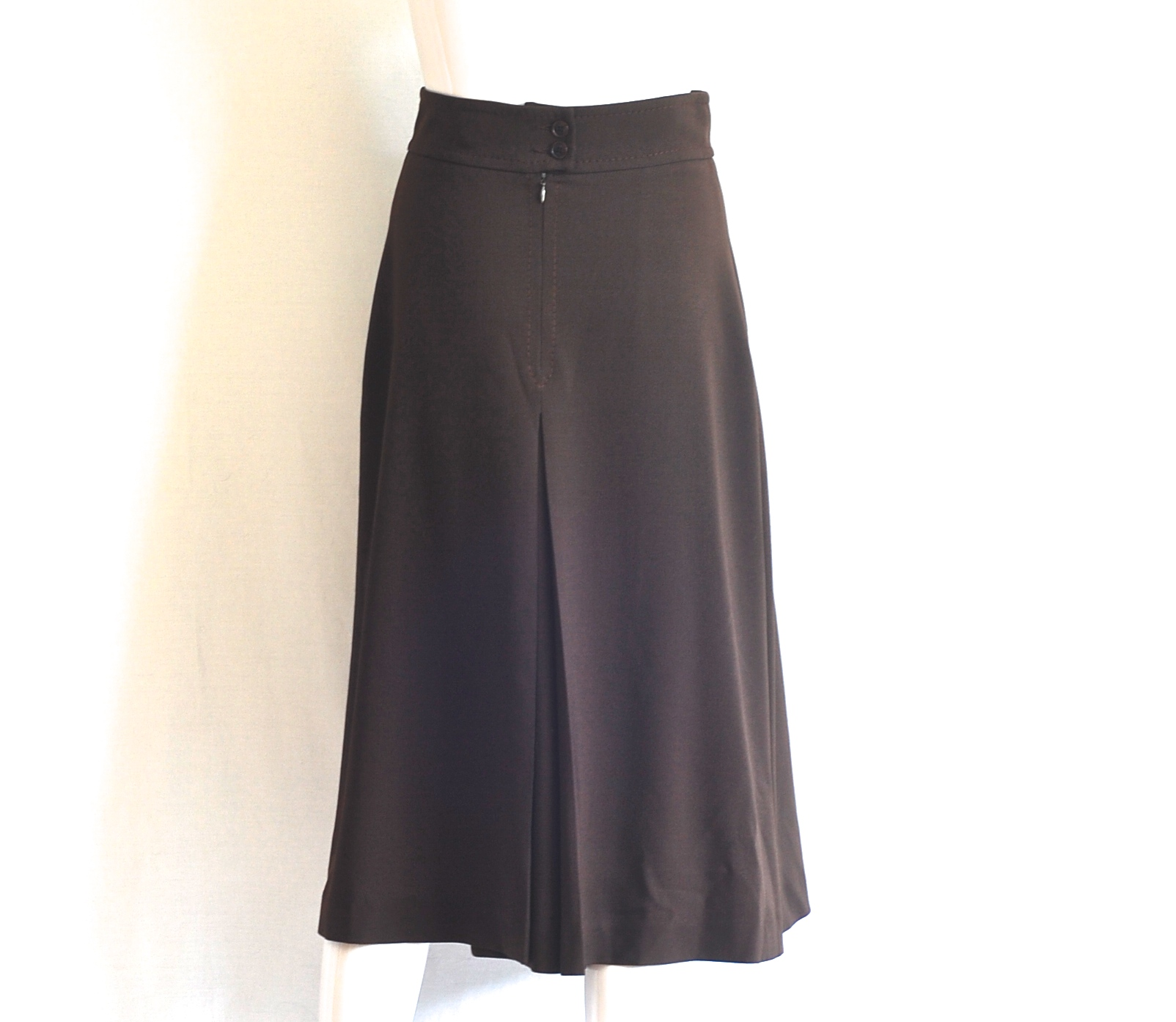 samsonite wide pleat brown midi skirt italy west