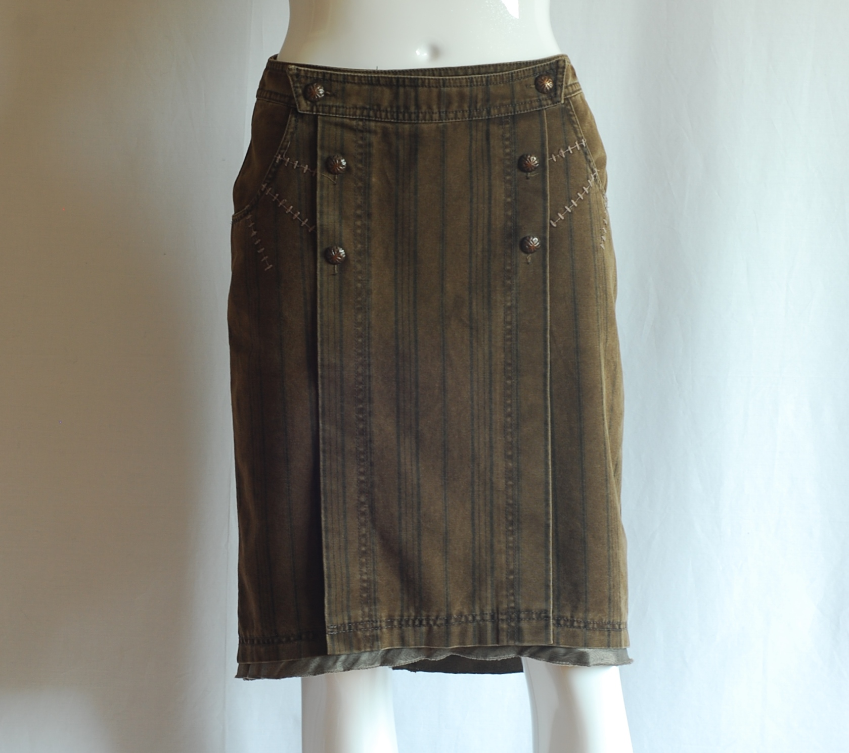 brown denim skirt with front panel west