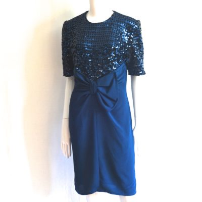 aa458056728 Luisa Spagnoli Dark Blue Sequined Party Dress – Italy