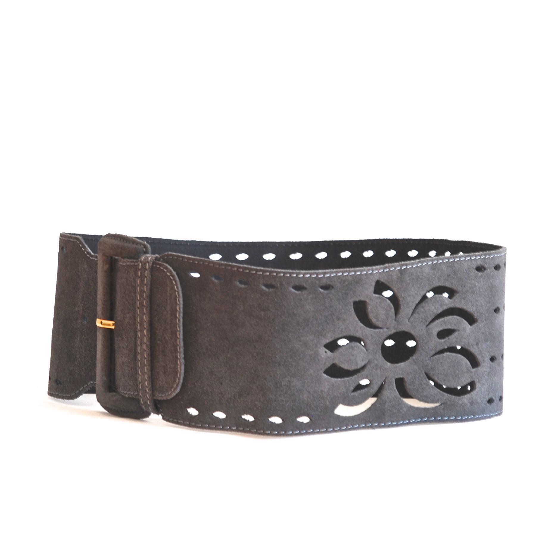 croute de vachette wide grey belt with cut outs