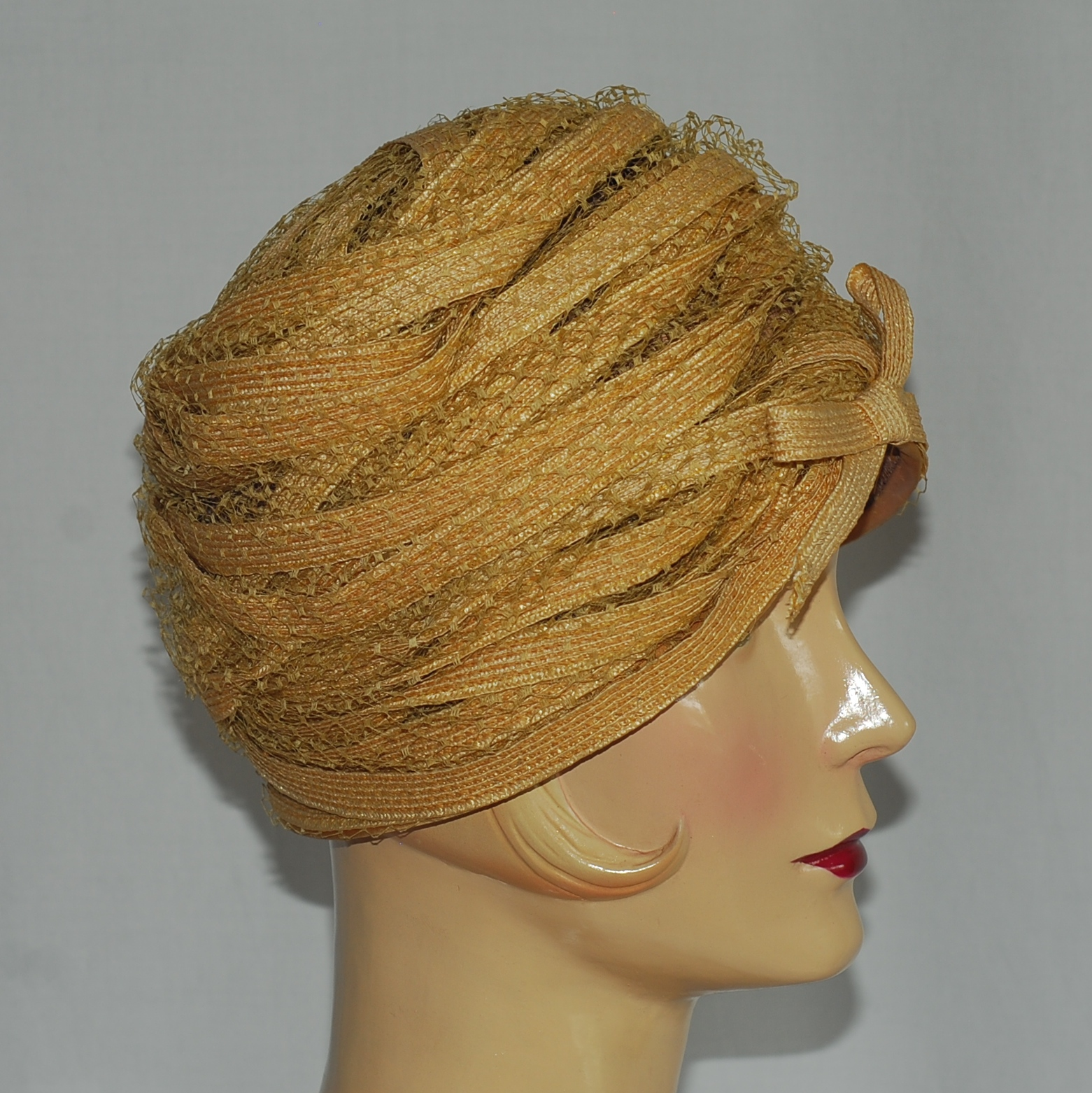 Andre 1960 s Braided Straw Turban With Dotted Tulle  be16f8719ca