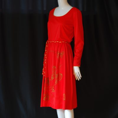 94f3911ea107 Alfred Shaheen 1970 s Signature Orange Dress With Green Butterflies