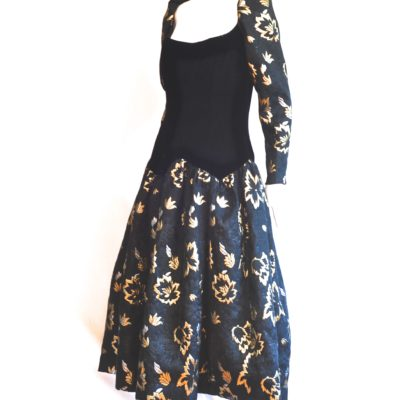 f0235c48b8d Victor Costa 1980 s Jacquard Gold Lame   Velvet Gown – USA