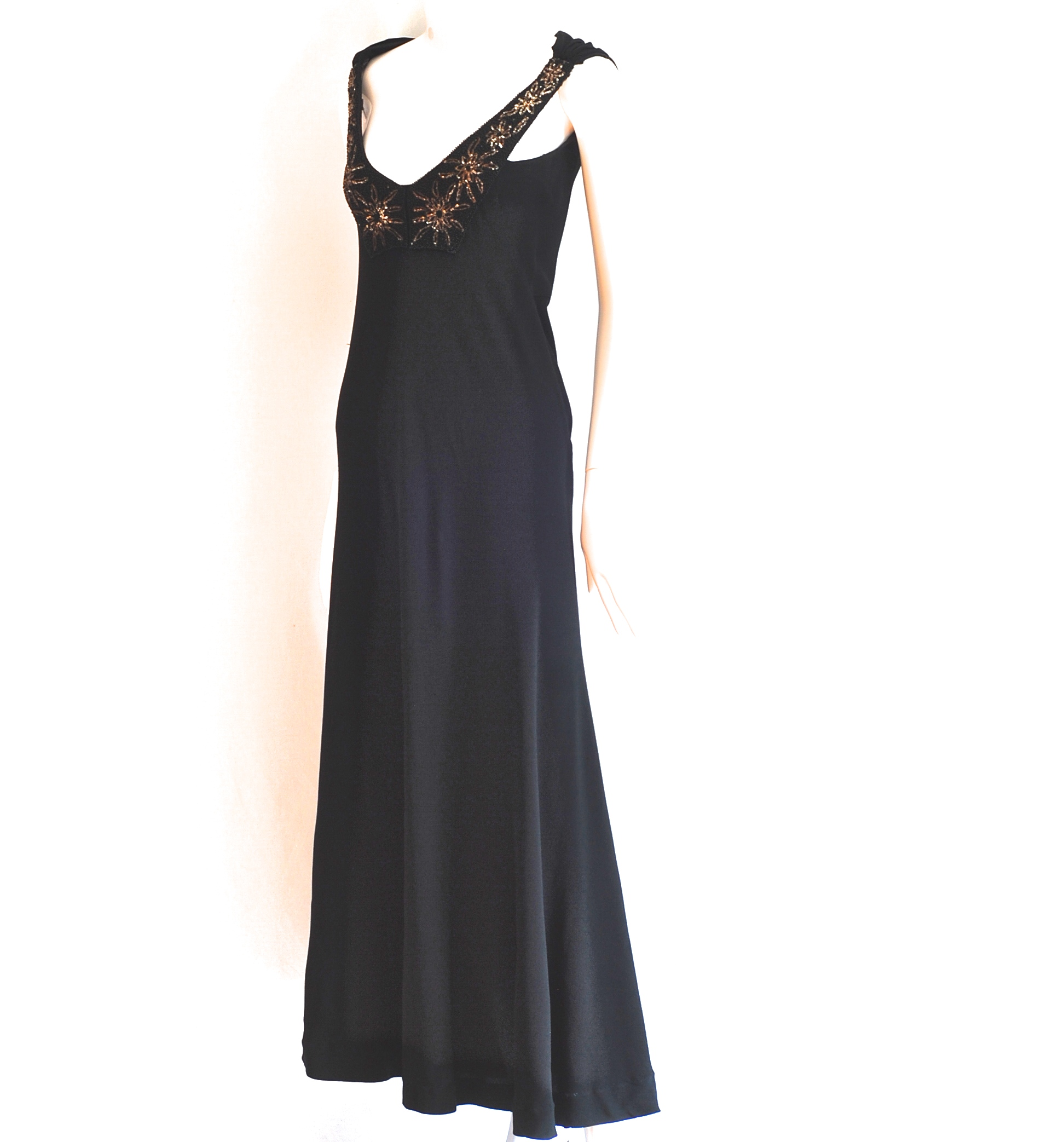 S.B. Watts & Co. 1930\'s Bias Cut Black Embellished Evening Gown ...