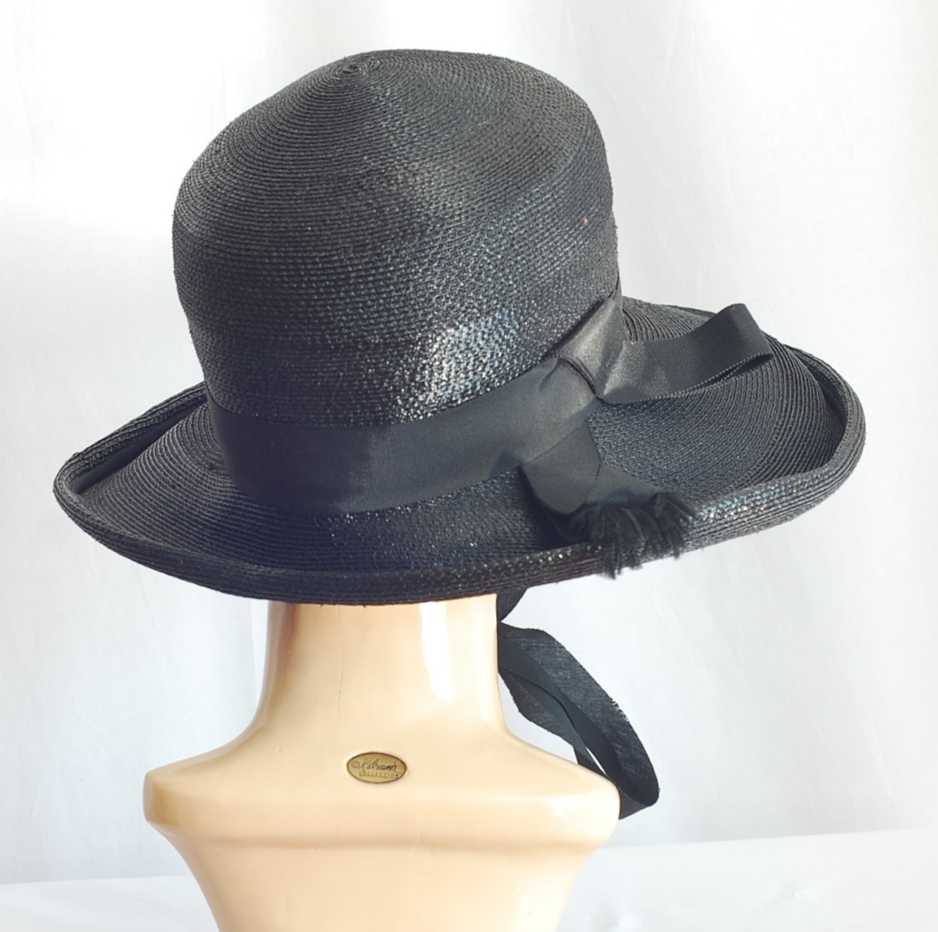1940 s Wide Brim Fine Straw Hat With Ribbon Tie  0b8925efea3
