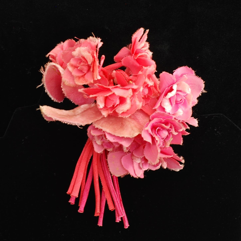 Antique Millinery Silk Velvet Bouquet Of Flowers Quiet West Vintage