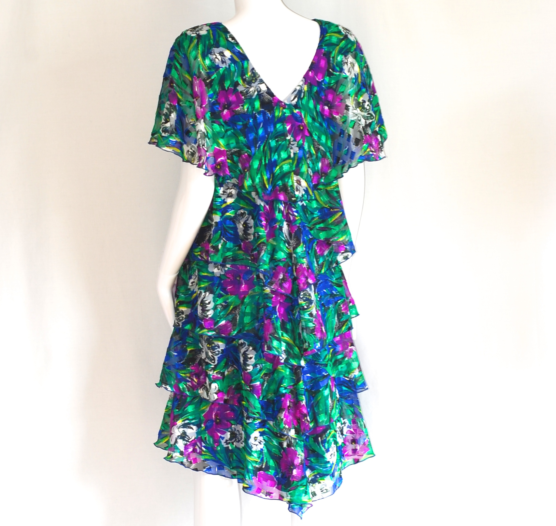 a384c08c6f6 Ann Hobbs For Cattiva Saks Fifth Avenue Silk Lame Tiered Dress ...