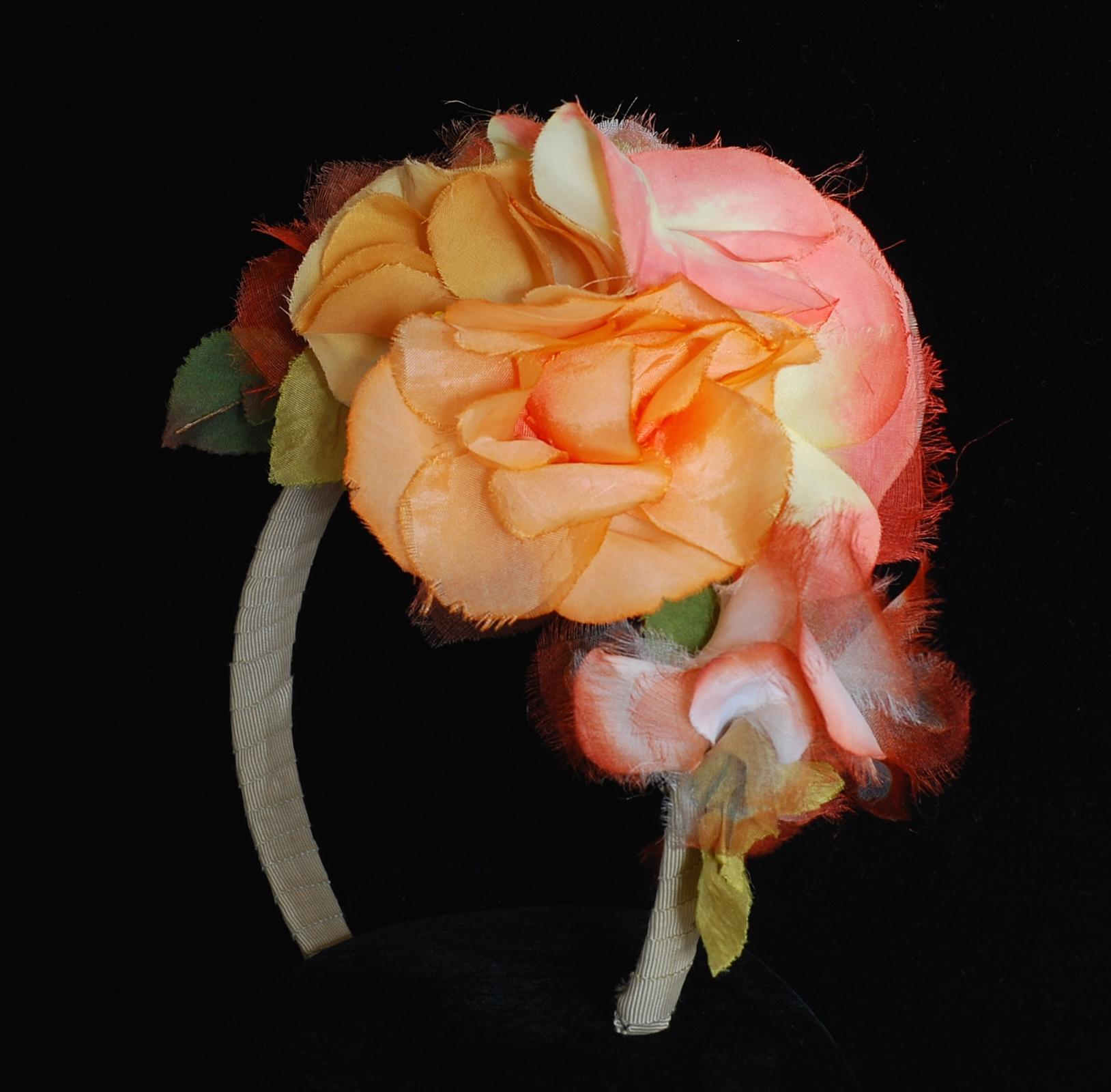 1930s Peach Tone Millinery Silk Floral Head Band Quiet West Vintage