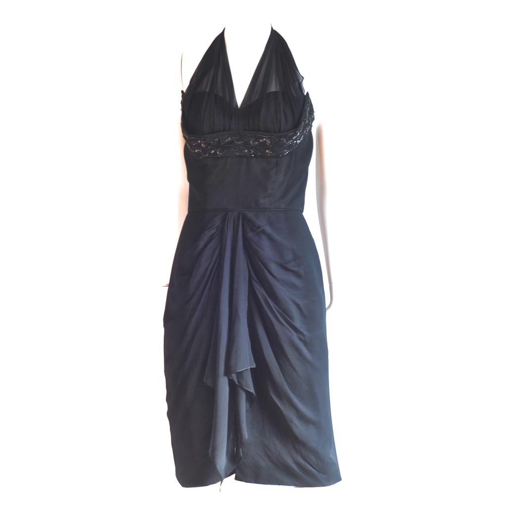 After dark Cocktails, Montreal 1960's black halter dress.