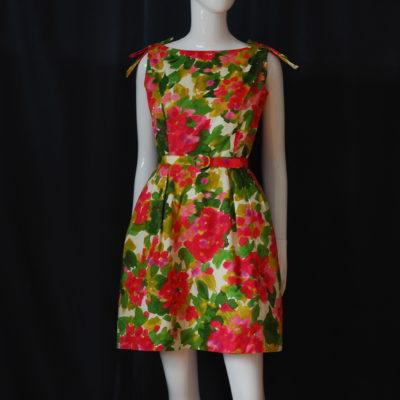 dc0d6f04e9a5 1960 s Impressionistic Cotton Floral Play Dress
