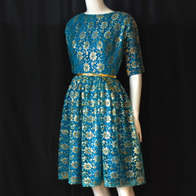fe436b58a17 1950 s Bright Blue Silver   Gold Lame Lace Party Dress
