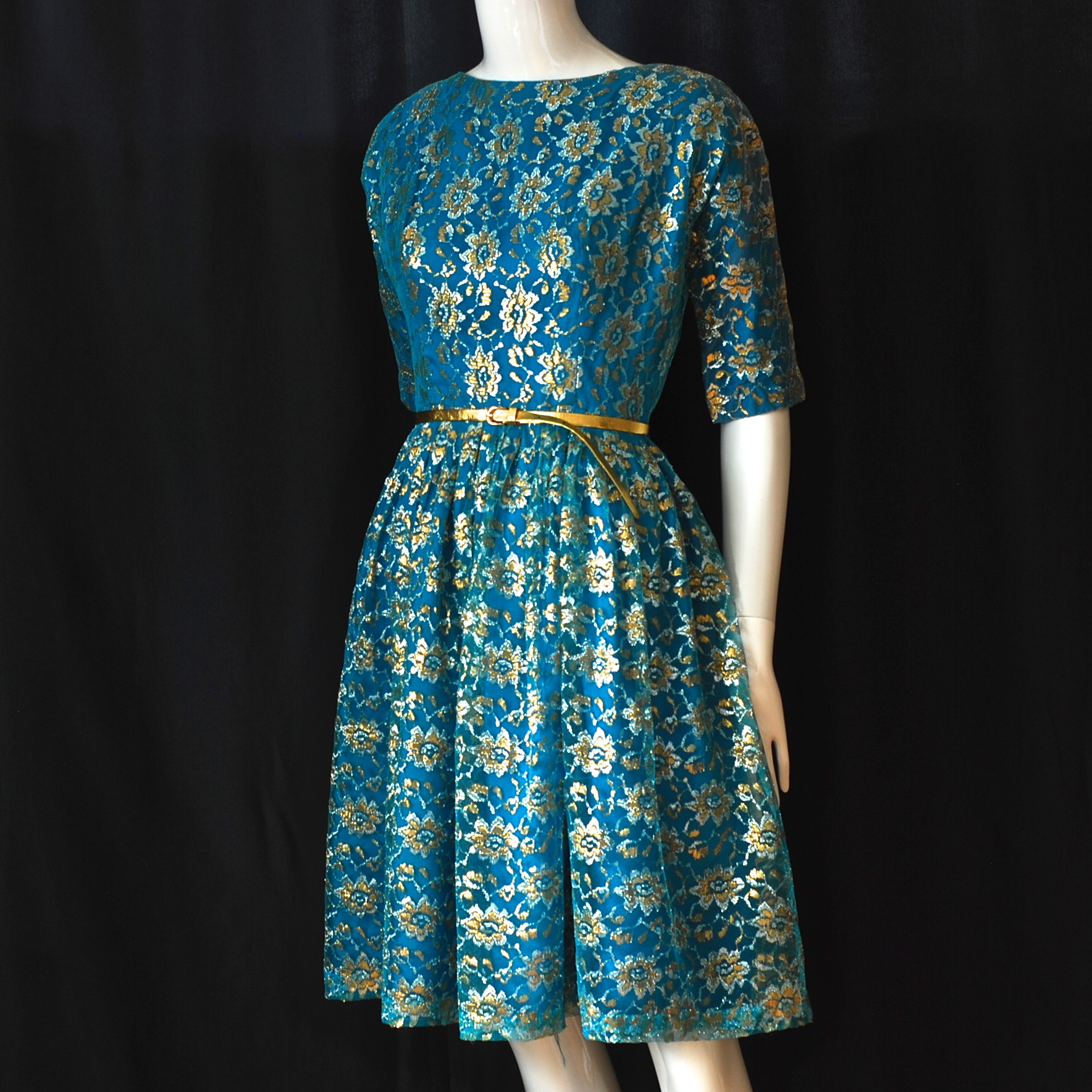 1950\'s Bright Blue Silver & Gold Lame Lace Party Dress | QUIET WEST ...