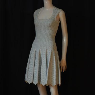 193d7f4c8cb8 Alaia Paris Blue   White Jacquard Short Dress With Zig Zag Hem – Italy