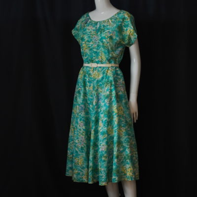 51be9fbbae7 1940 s Doupioni Silk Dress With Garden Theme   Rhinestone Accents
