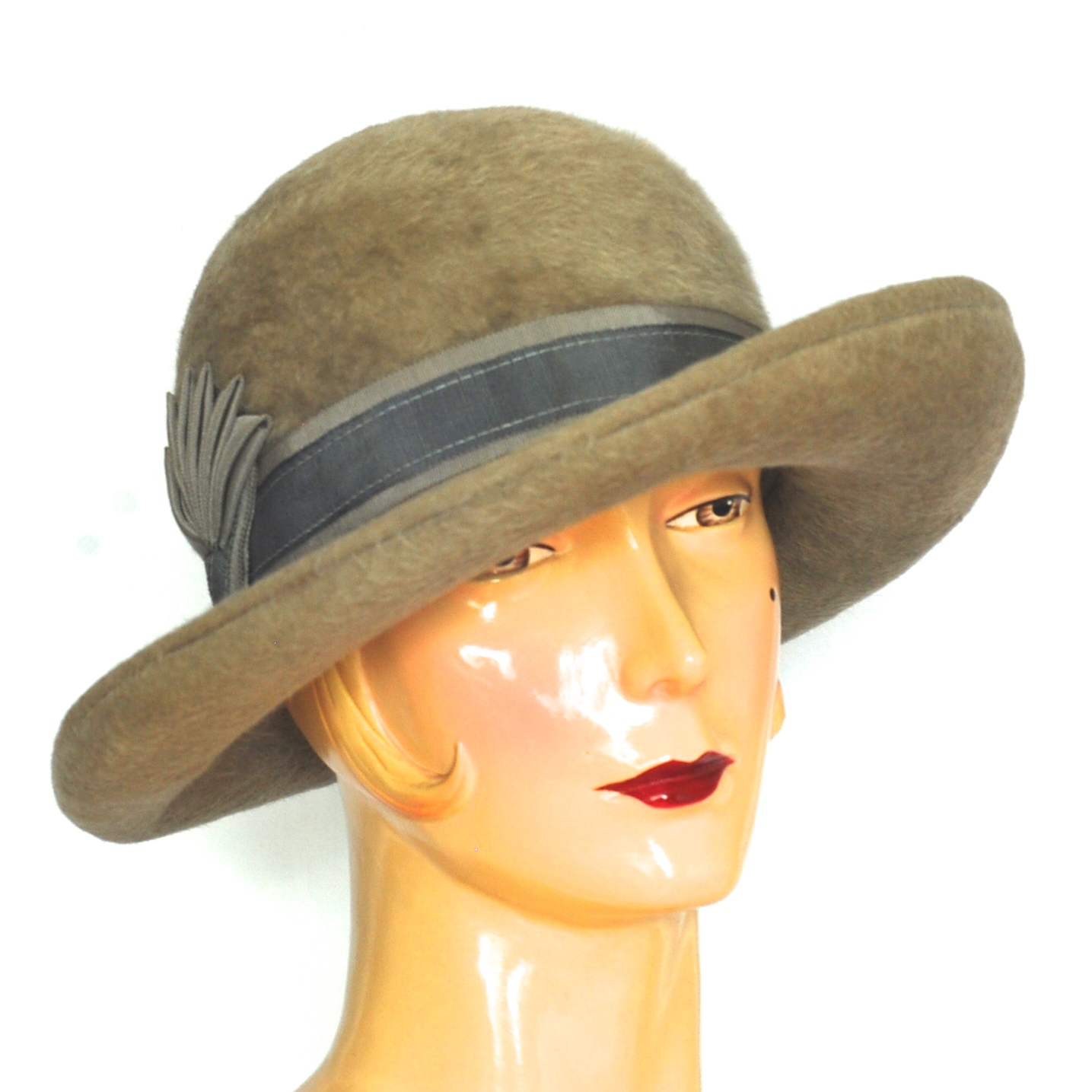 420f0331d92 Lilly Dache 1950 s Taupe Gray Beaver Hat With Grosgrain Ribbon ...