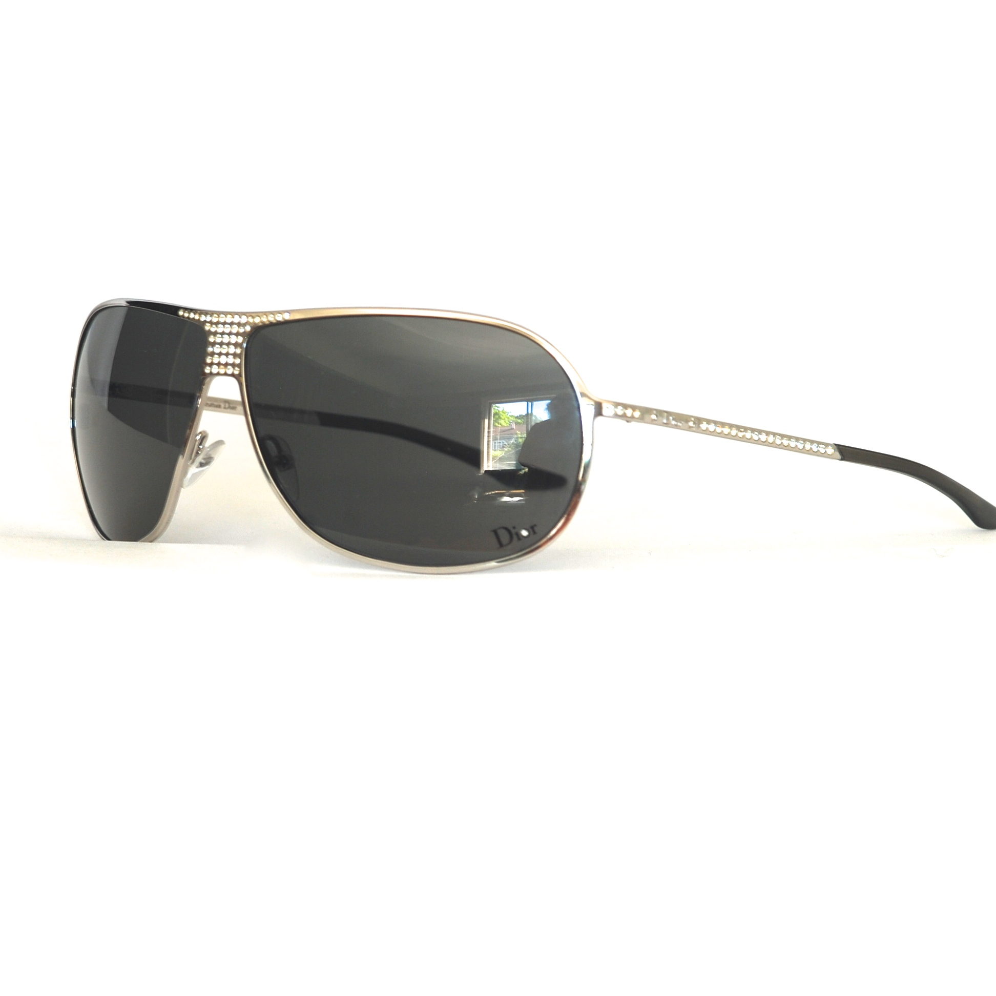 Christian Dior Silver Tone With Sparkle Large Frame Sunglasses ...