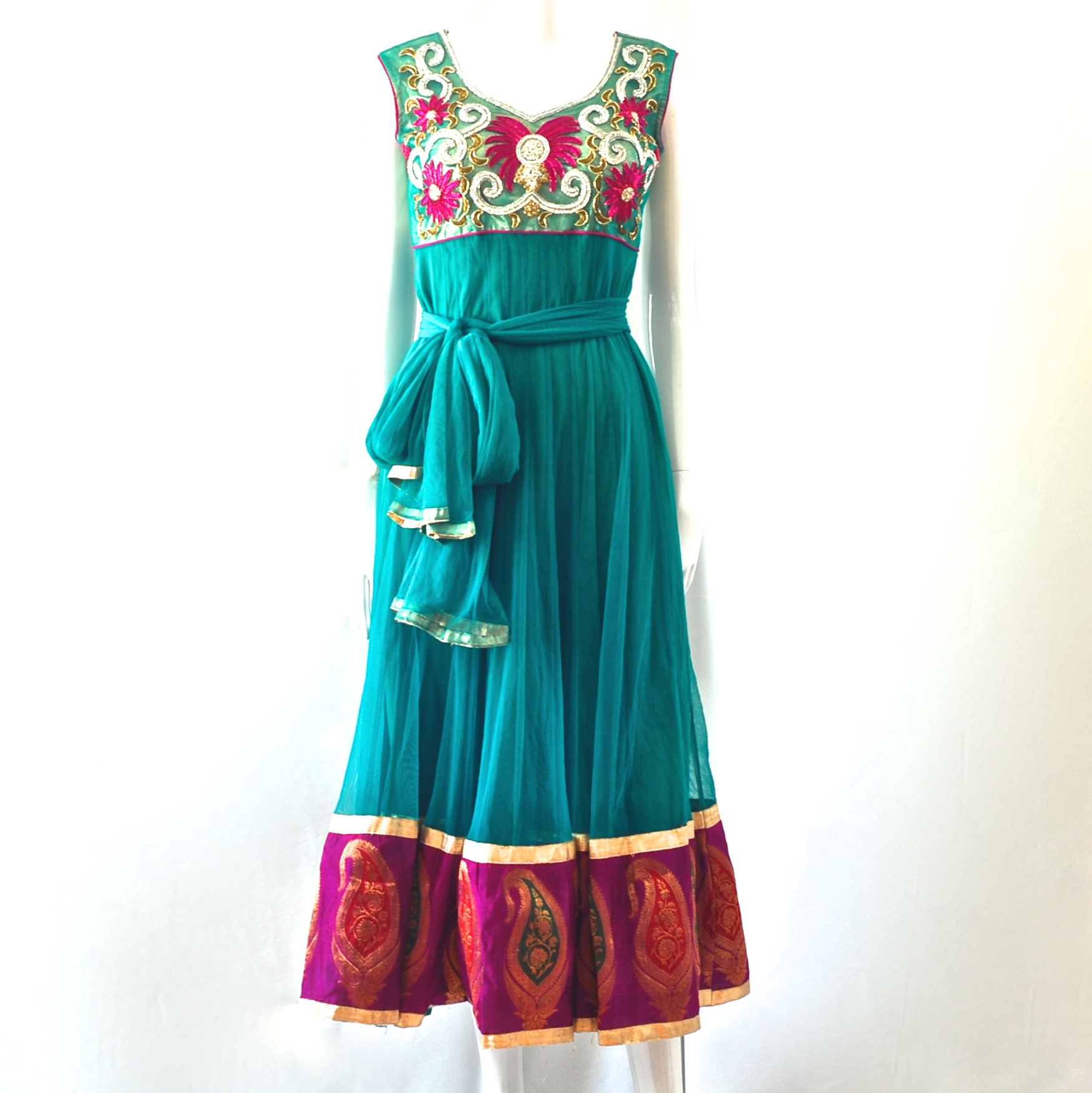 d7cd887f0 Beautifully Embellished Persian Green   Cerise Fluted   Flared Midi Dress –  India