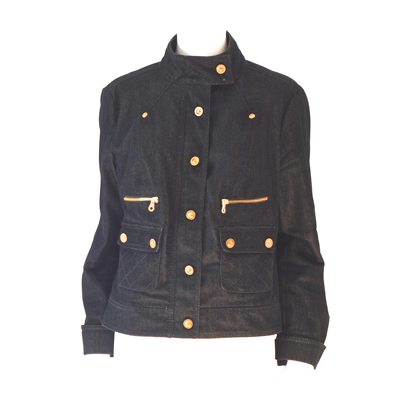 2ca9569893 Luisa Spagnoli Denim Jacket With Pocket Detail & Gold Tone Buttons – Italy