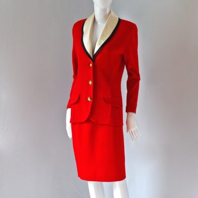 127c2e6733 St. John By Marie Gray 1980's Lipstick Red Suit With Detachable Ivory Silk  Collar
