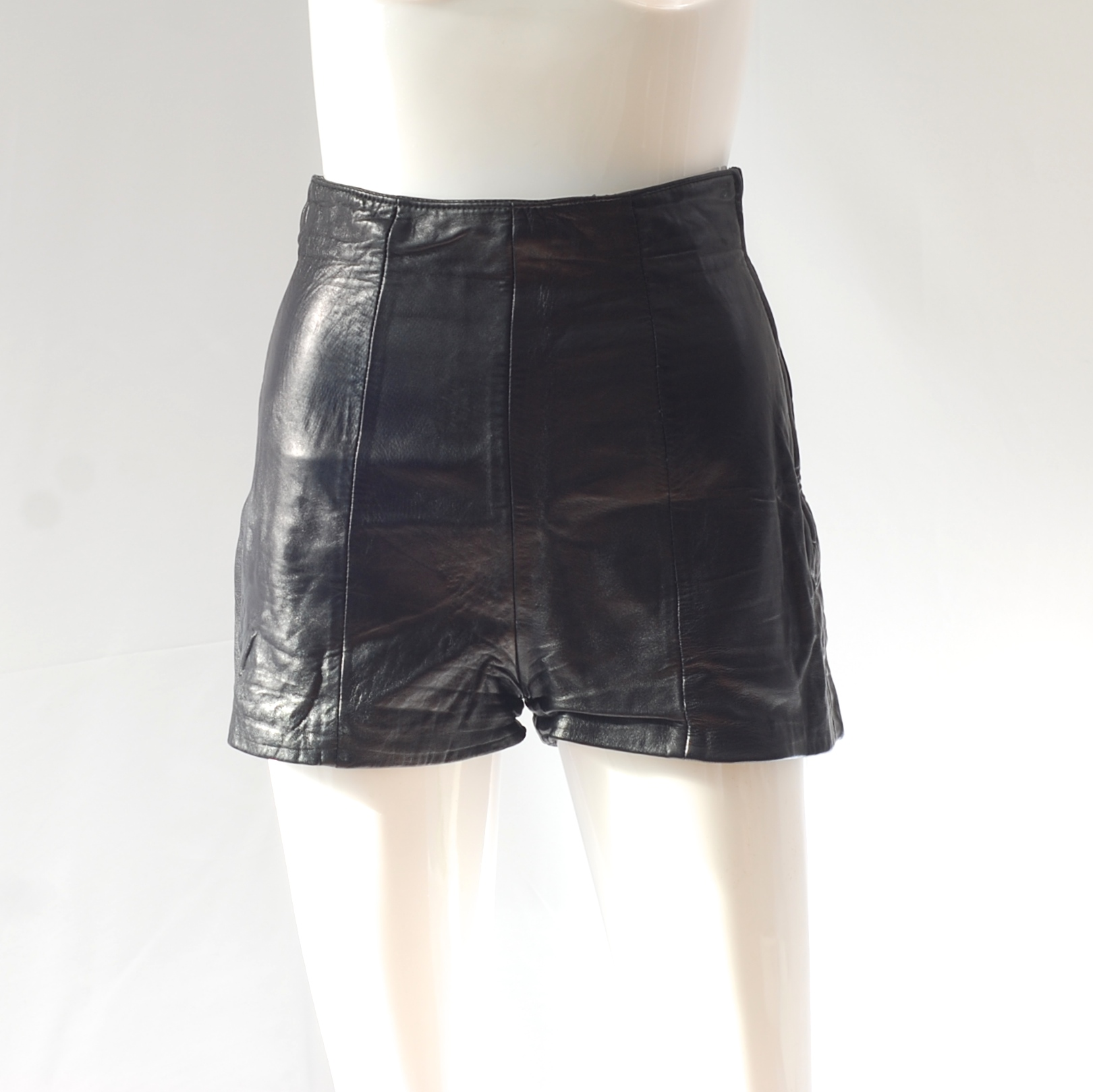 c7a472f372 Michael Hoban For North Beach 1980 s High Waisted Black Leather Shorts