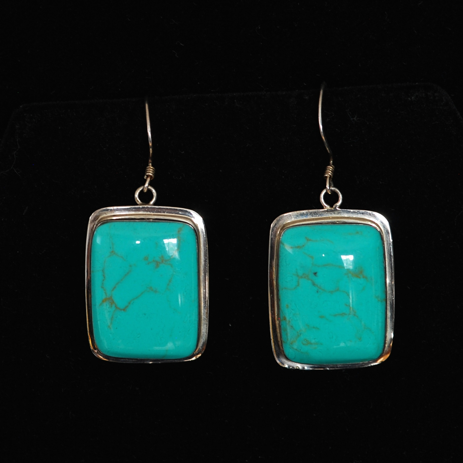 Large Sterling Silver Modernist Square Turquoise Earrings With A Light Matrix 925