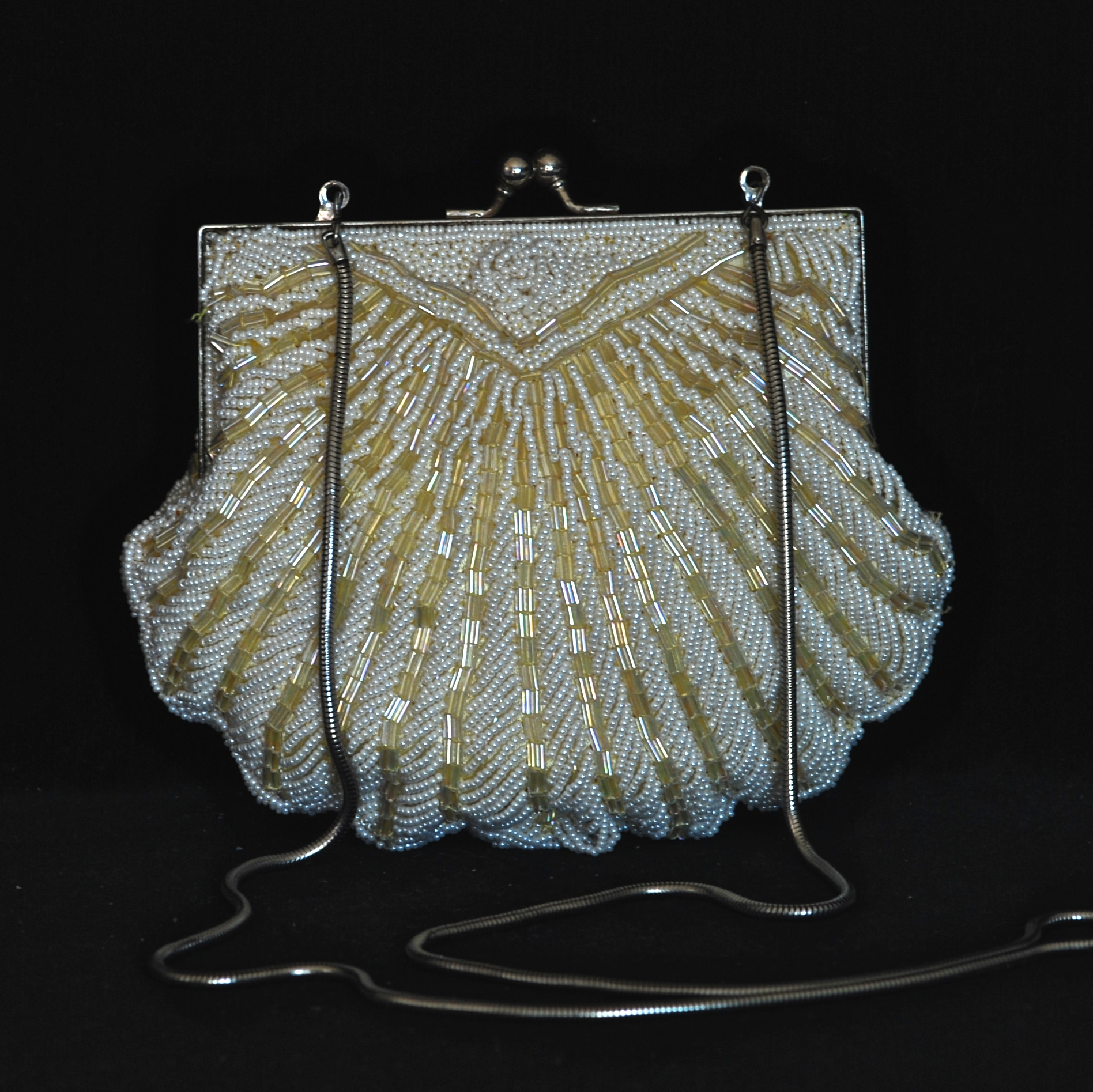 Walborg 1960s Hand Beaded Evening Bag With Long Chain