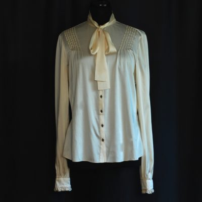 1ed97a42fca Saks Fifth Avenue Ivory Silk Pussy Bow Blouse With Stitch   Button Detail