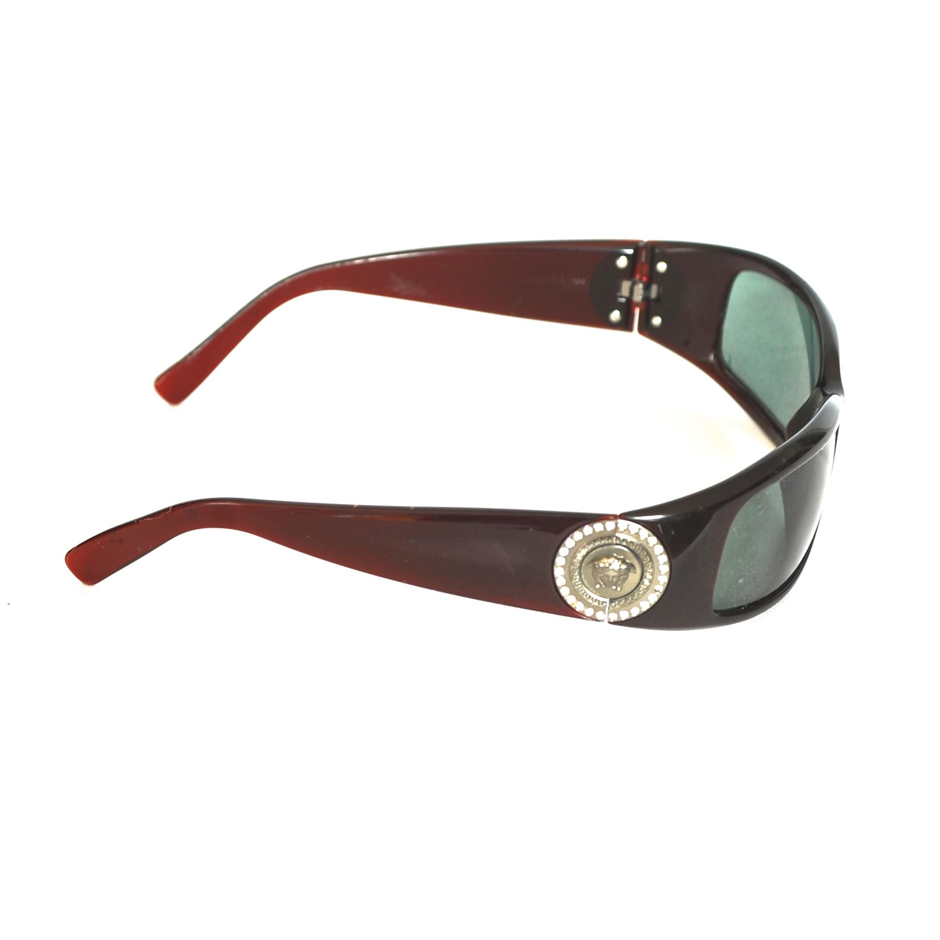 bf940792e337 Versace 1990 s Wraparound Sunglasses With Flashy Round Logo On Arms – Italy