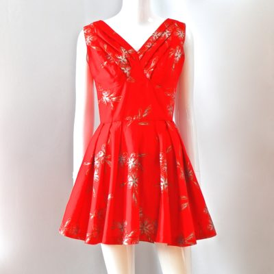 cb1ccb5582b Elsie Krassas Waikiki 1960 s Flared Red Mini Dress With Hand Painted Art –  Hawaii
