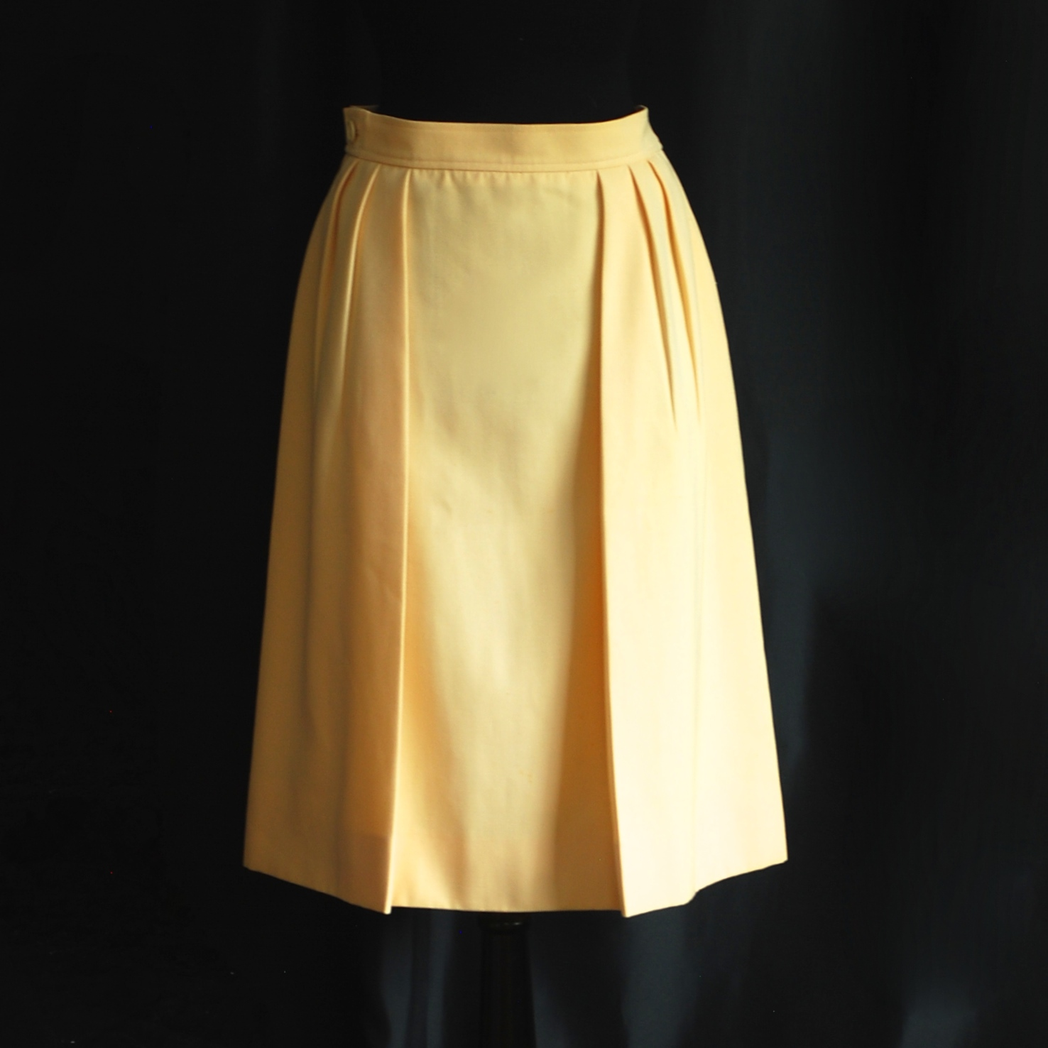 eb61ee4a Yves Saint Laurent Rive Gauche 1970's Pale Yellow Wool Skirt With Pockets –  France