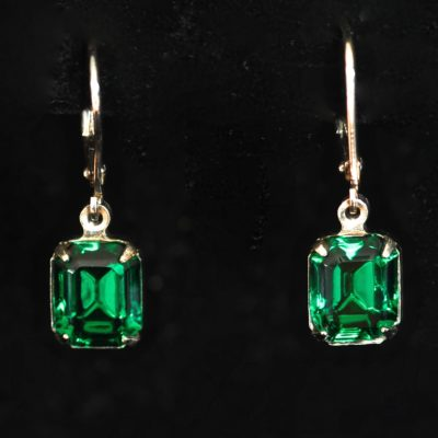 77d9aab806b31c 1960's Sterling Silver Earrings Featuring Foil Backed Emerald Cut Green  Stones – 925