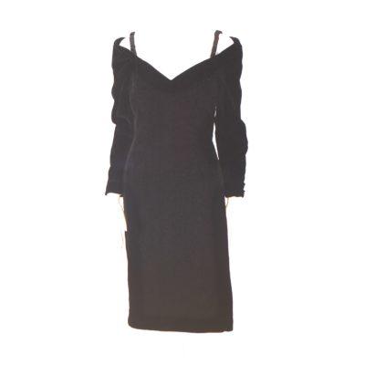 618a6f5fc5b24 Victor Costa For Holt Renfrew 1990 s Off Shoulder Black Velvet Cocktail  Dress – USA