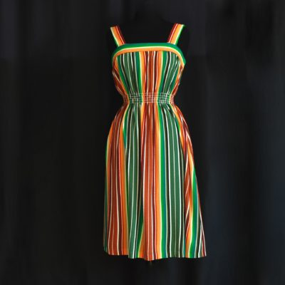 ad3777df560 Conrad Lingerie 1970 s Jacquard Lounge Dress In Bright Bold Stripes –  Montreal