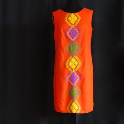 b31852b85 1960 s Twist Of Orange Wearable Art Dress With Deco-Like Needlework – No  Labels