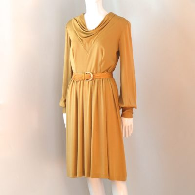 ef9ce36a81a An Original Junior Vogue 1970 s Jasmine Coloured Belted Dress With Long  Sleeves – New York