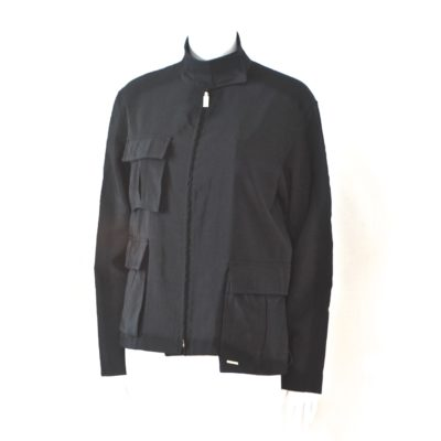 19519e4ea0ac4 Gianni Versace Black All Weather Jacket With Asymmetrical Side Pocket –  Italy