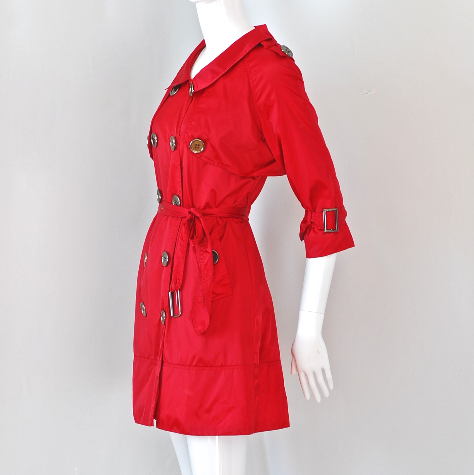 0938abe066b Burberry Black Label Crimson Red Trench Coat With Large Buttons – UK ...